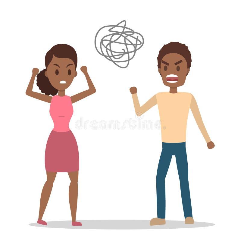 Mulher irritada que grita em seu noivo forçado ilustração stock