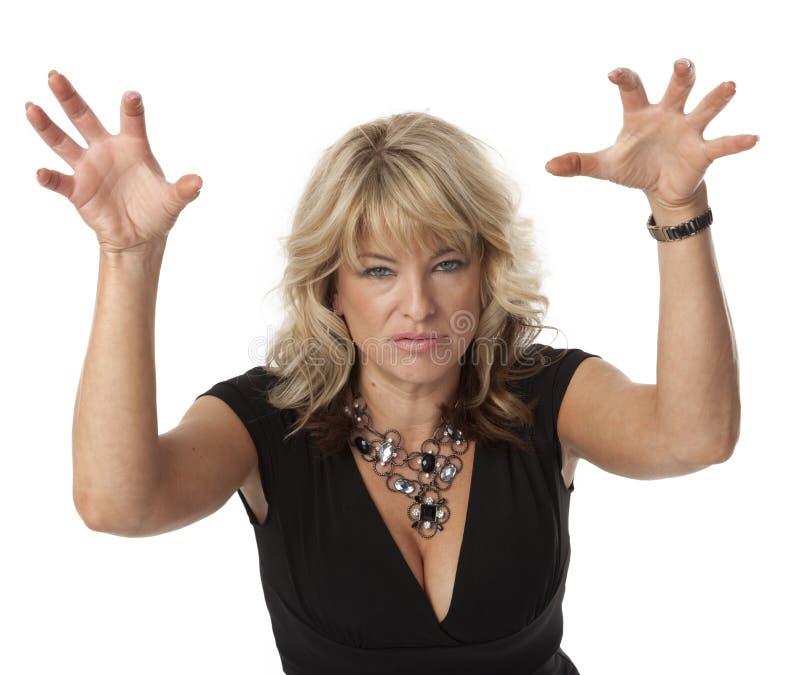 Mulher irritadiço na menopausa imagem de stock royalty free