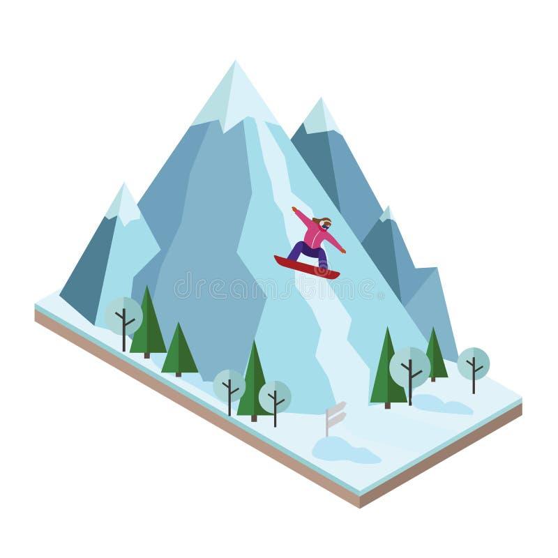 A mulher isométrica do vetor retira a montanha Snowboarding, esporte de inverno Jogos de Olimpic, estilo de vida da recreação, at ilustração stock