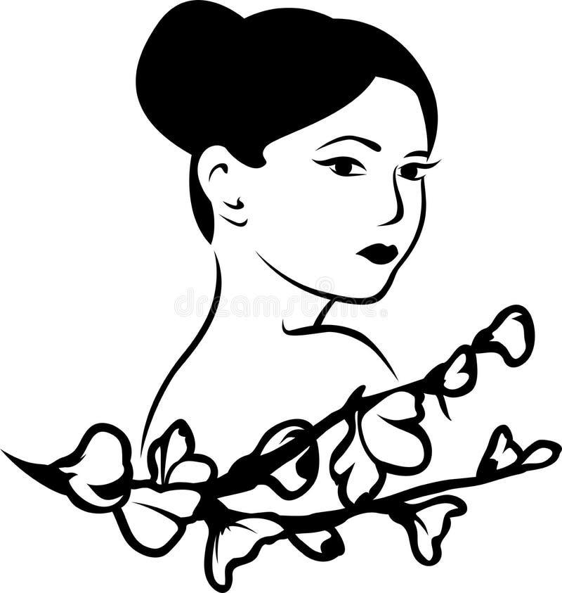 Mulher japonesa bonita ilustração royalty free
