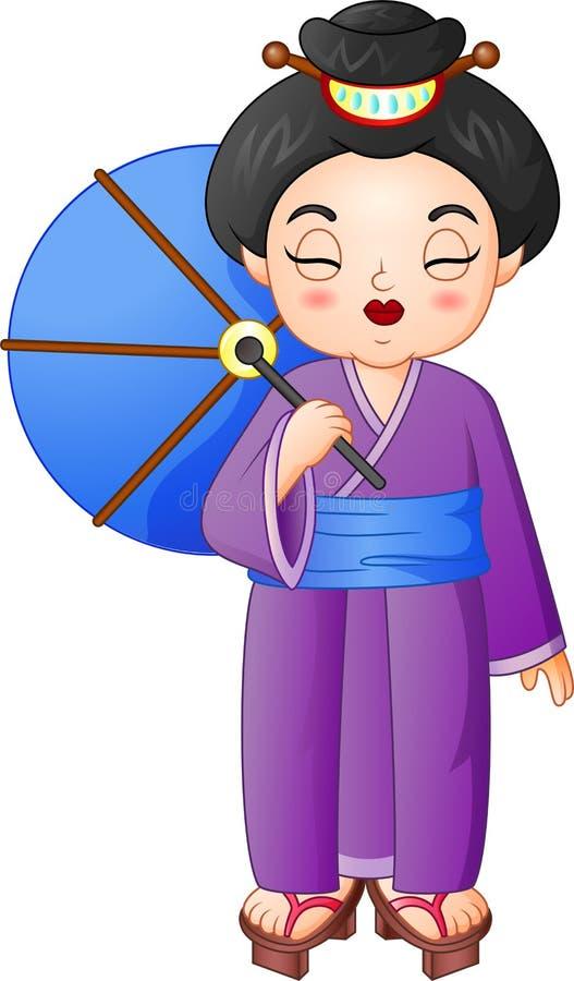Mulher japonesa que veste o quimono tradicional que guarda um guarda-chuva ilustração royalty free