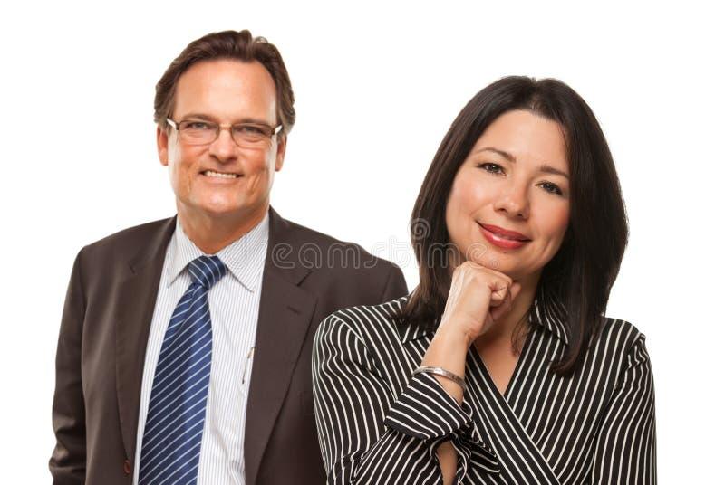 Mulher latino-americano com o homem de negócios no branco fotografia de stock royalty free