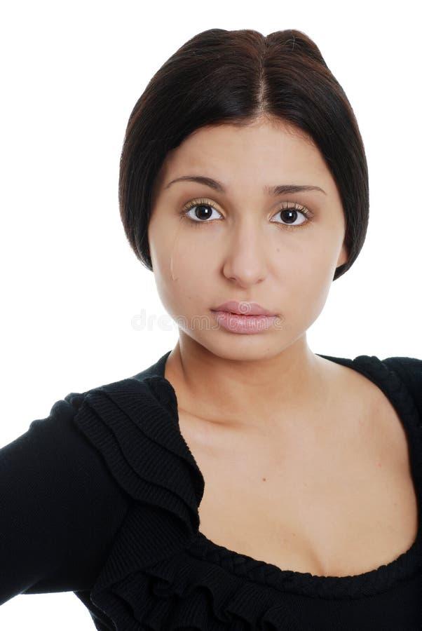 Mulher latino-americano nova triste com um rasgo foto de stock