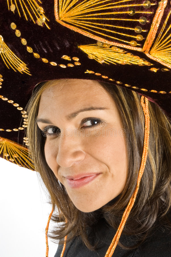 Mulher latino-americano que desgasta um Sombrero foto de stock