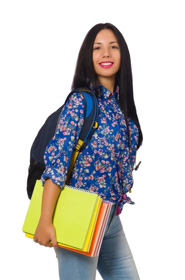 Mulher latino com as notas isoladas no branco imagem de stock