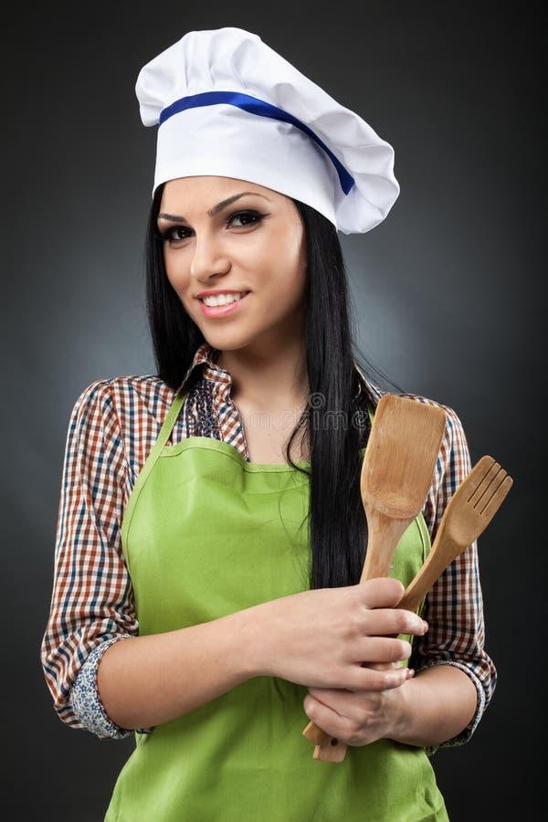 Mulher latino do cozinheiro fotografia de stock royalty free