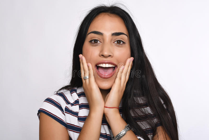 Mulher latino surpreendida imagem de stock royalty free
