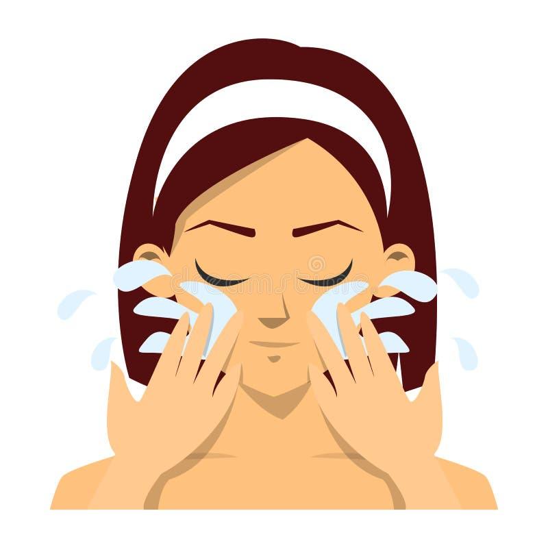 A mulher lava a cara com a agua potável fresca isolada ilustração royalty free