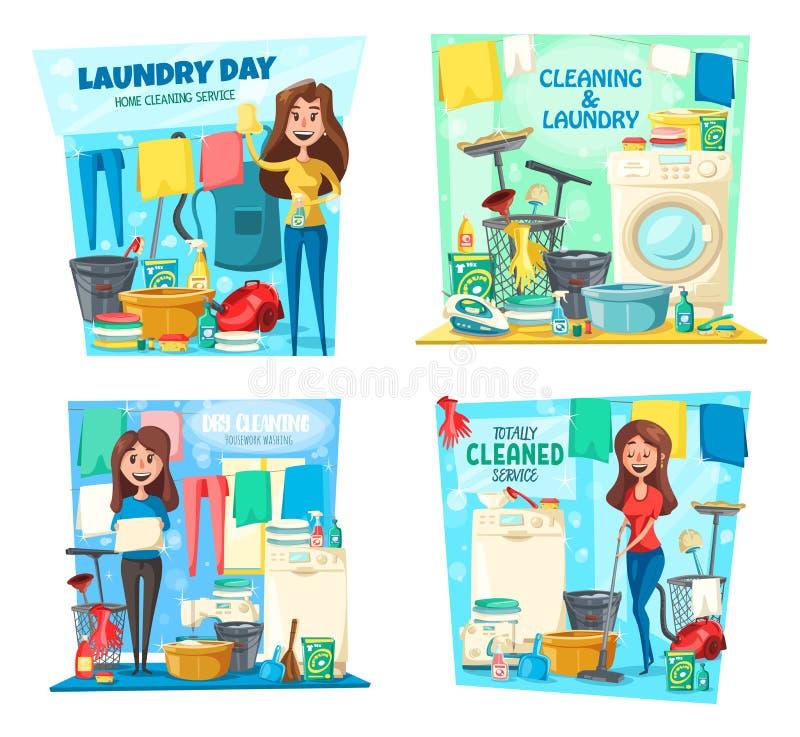 Mulher, lavanderia, limpeza da casa, espanador, vácuo, vassoura ilustração stock