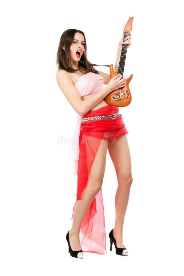 Mulher Leggy na saia vermelha fotos de stock royalty free