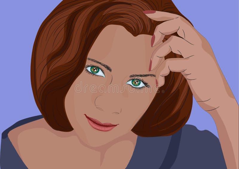 Mulher, linda, beleza, rosto, Retrato, jovem, cabelo, olhos, modelo, pessoa, moda, isolada, morena, pessoas, branca, feliz, hea fotos de stock