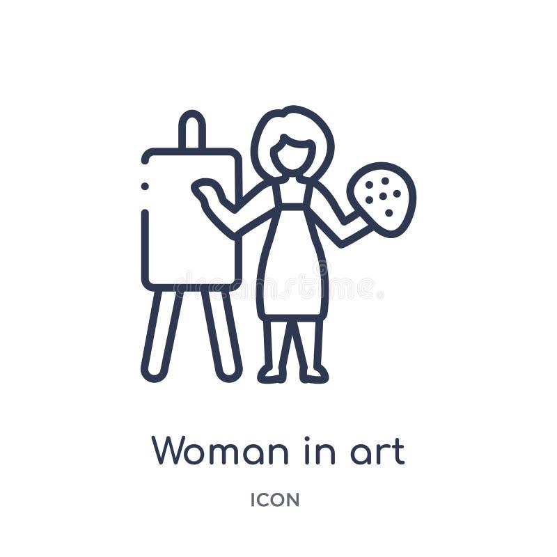 Mulher linear no ícone da arte da coleção do esboço das senhoras Linha fina mulher no ícone da arte isolado no fundo branco Mulhe ilustração do vetor