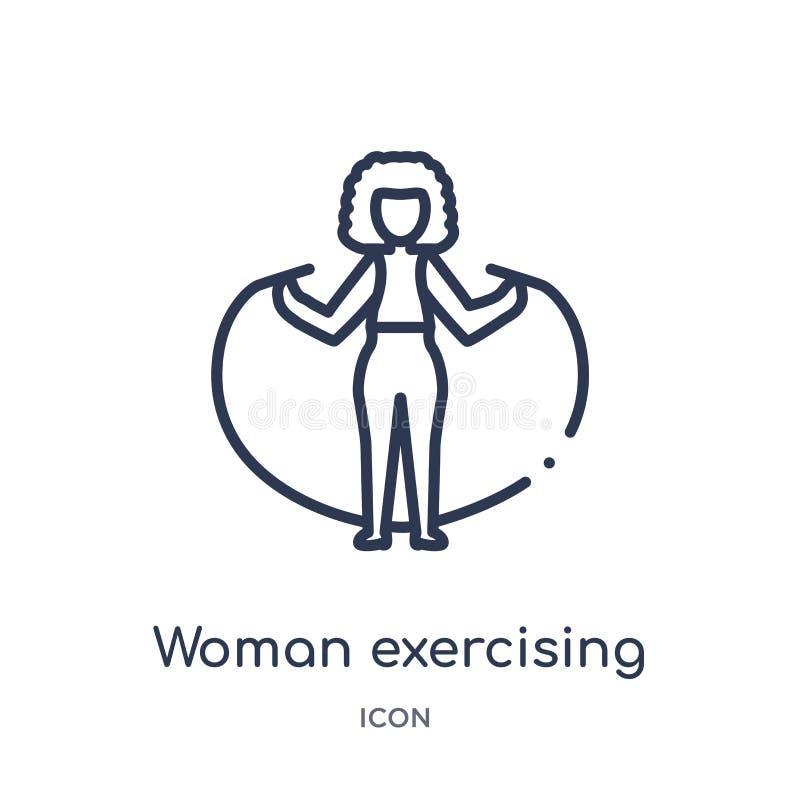 Mulher linear que exercita o ícone da coleção do esboço das senhoras Linha fina mulher que exercita o ícone isolado no fundo bran ilustração stock