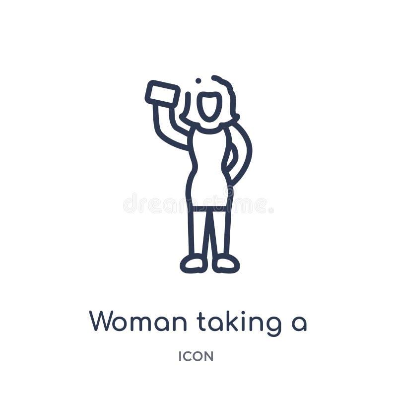 Mulher linear que toma um ícone do selfie da coleção do esboço das senhoras Linha fina mulher que toma um ícone do selfie isolado ilustração do vetor