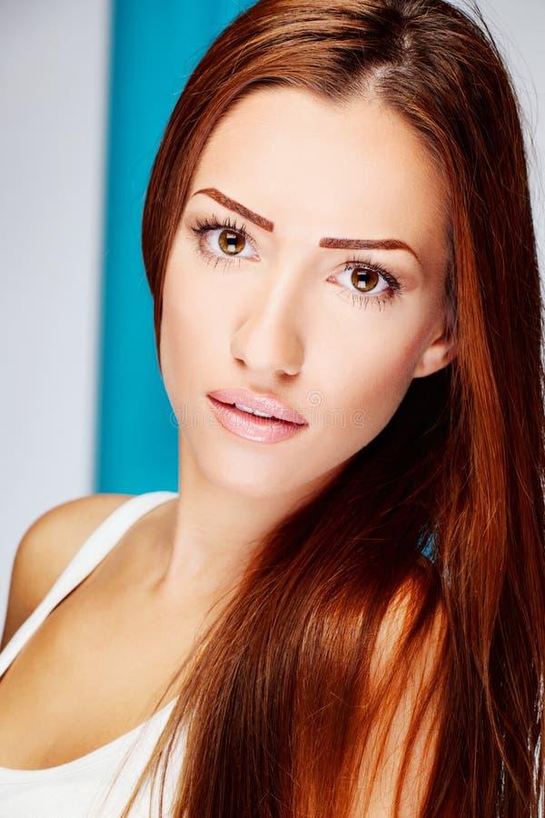 Mulher longa do brunette do cabelo imagem de stock