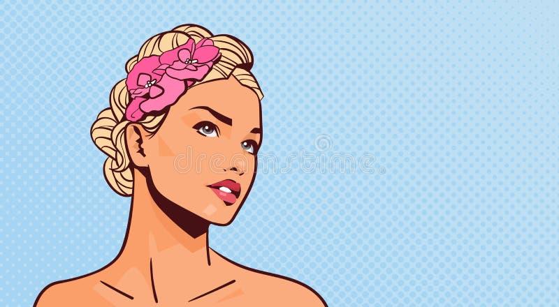 Mulher loura atrativa que olha acima o retrato da menina bonita no fundo retro do Pinup com espaço da cópia ilustração stock