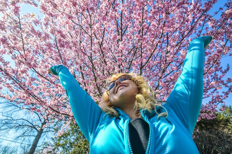 A mulher loura aumenta seus braços acima ao lado de uma árvore cor-de-rosa bonita e dos sorrisos da flor de cerejeira imagem de stock royalty free