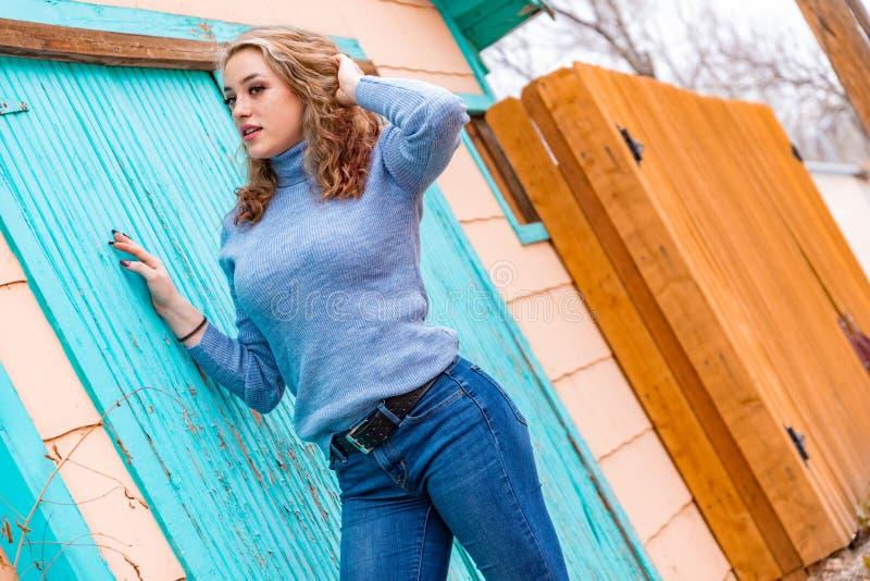 Mulher loura bonita da menina na camiseta da gola alta fotos de stock