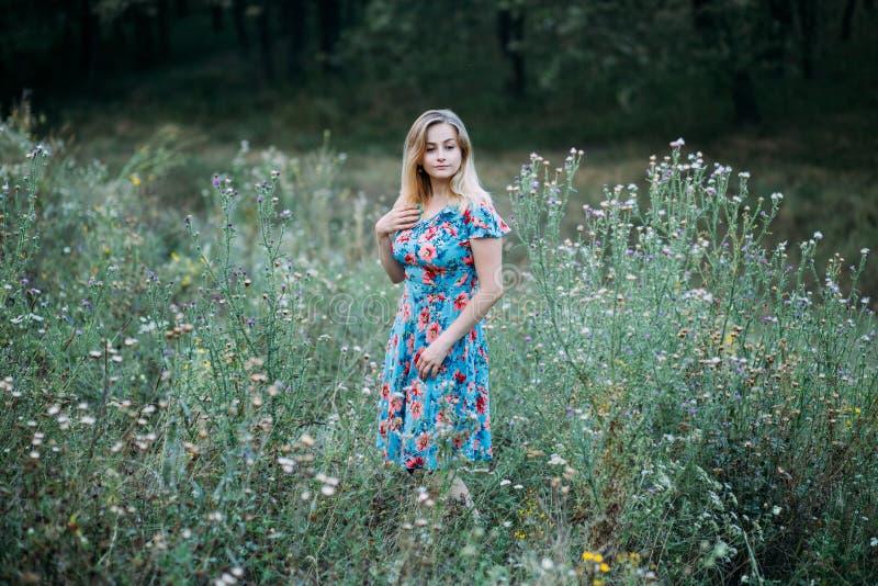 Mulher loura bonita nova no vestido da flor que está no campo floral Mola e verão imagem de stock royalty free