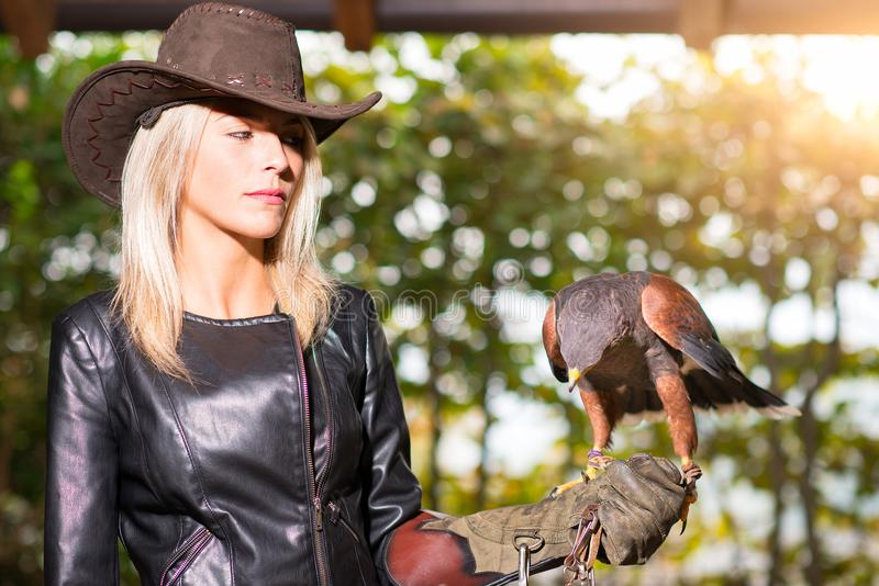 Mulher loura bonita que guarda um falcão de harris em um glo protetor imagem de stock