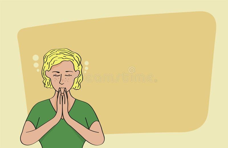 Mulher loura caucasiano relaxado que medita sobre o fundo amarelo ilustração stock