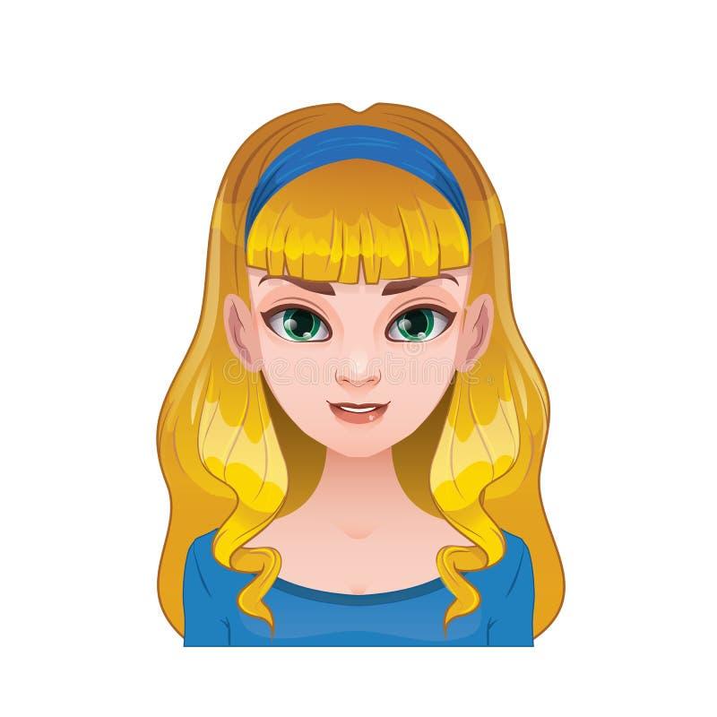 Mulher loura com cabelo e a faixa longos ilustração do vetor