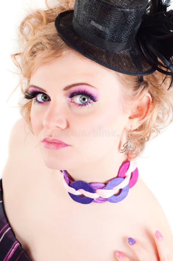 Mulher loura com composição extravagante foto de stock royalty free