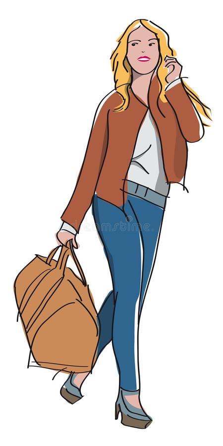 Mulher loura com seu saco do curso ilustração do vetor
