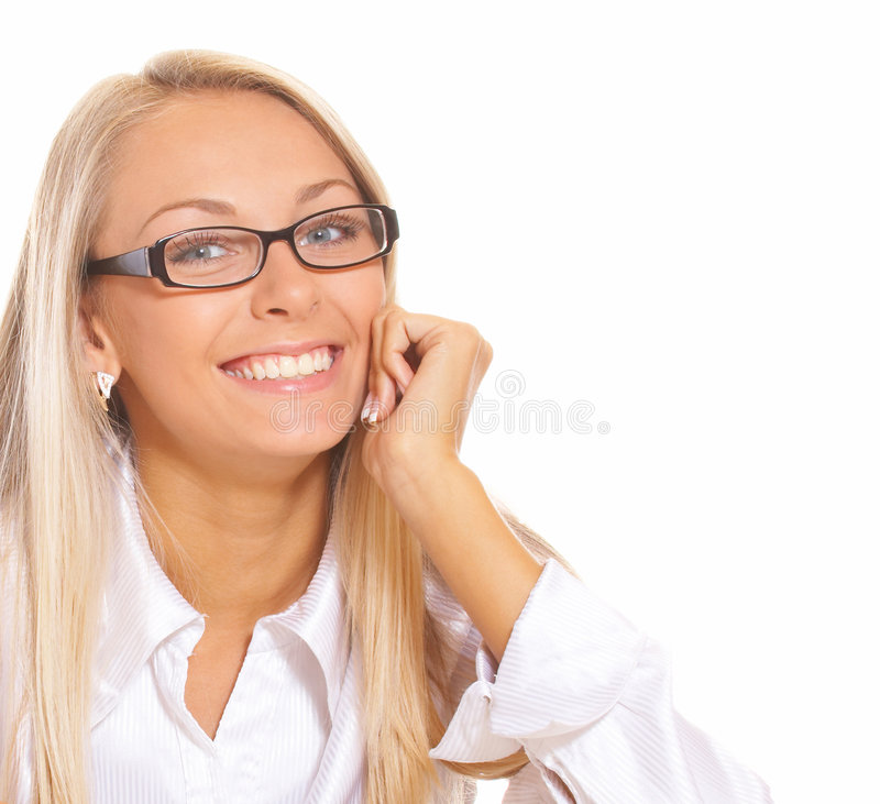 Mulher loura de sorriso foto de stock