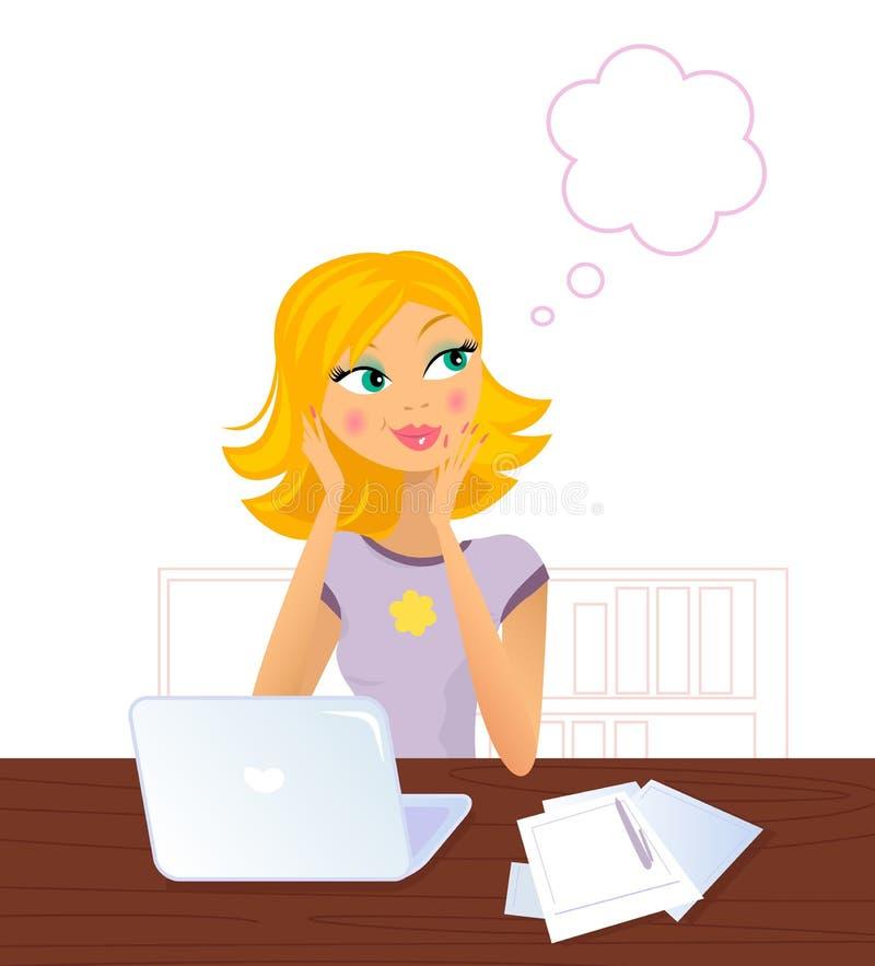 Mulher loura de sorriso feliz que daydreaming ilustração royalty free