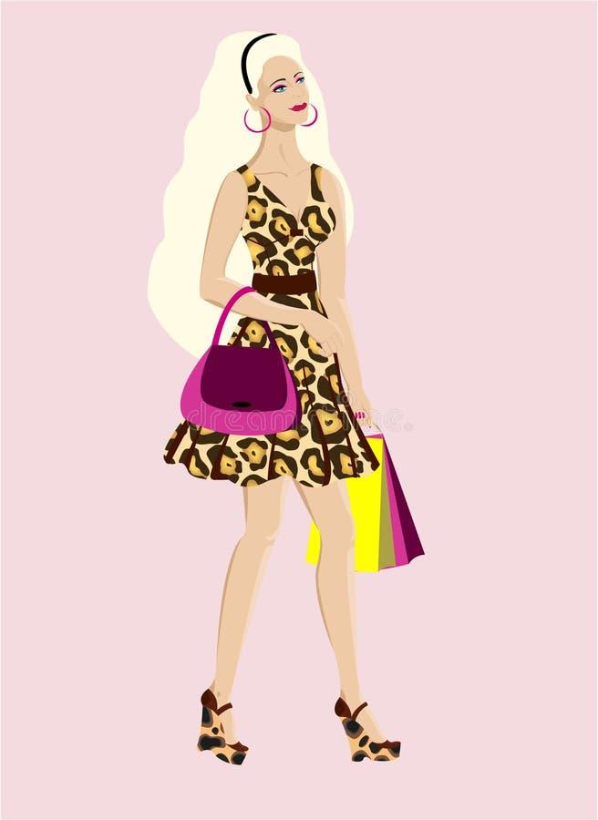 Mulher loura do encanto e da forma com sacos de compra ilustração royalty free