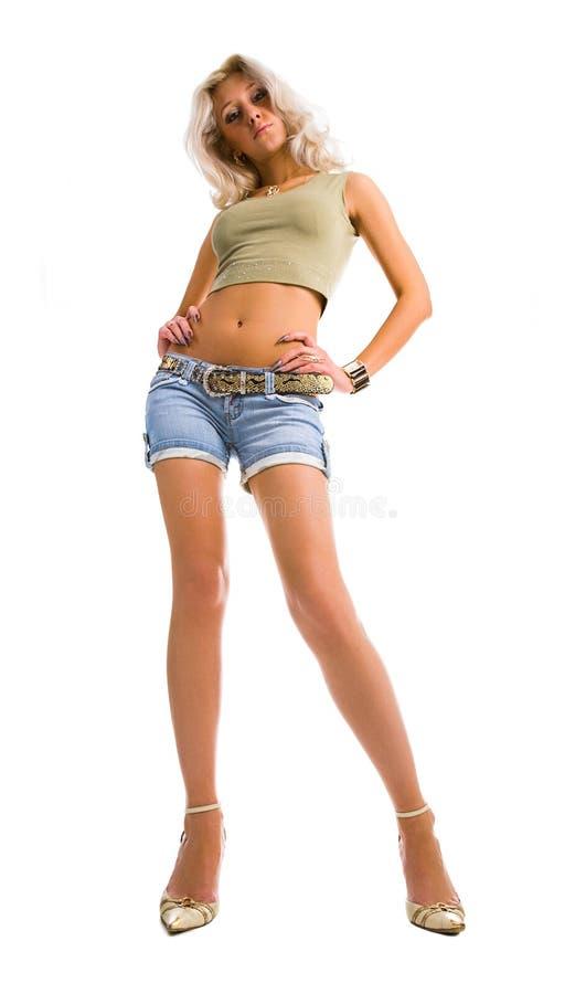 Mulher loura elevada fotografia de stock