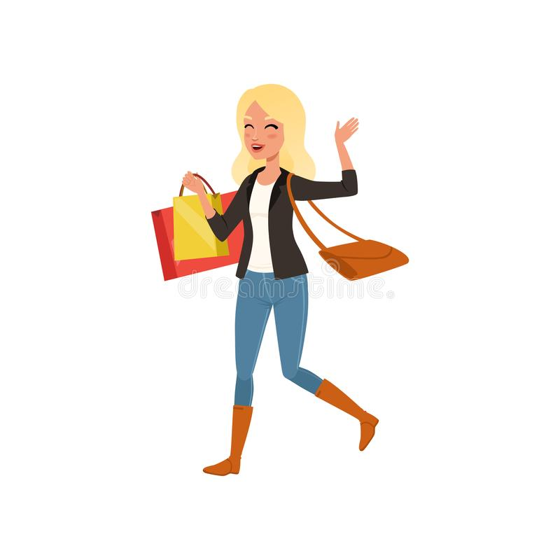 Mulher loura feliz que anda com os sacos de compras da loja Venda grande Moça com o saco no ombro Projeto liso do vetor ilustração stock