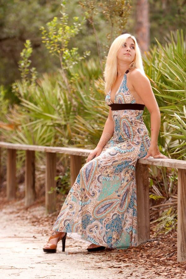 Mulher loura no vestido 'sexy' fotografia de stock royalty free
