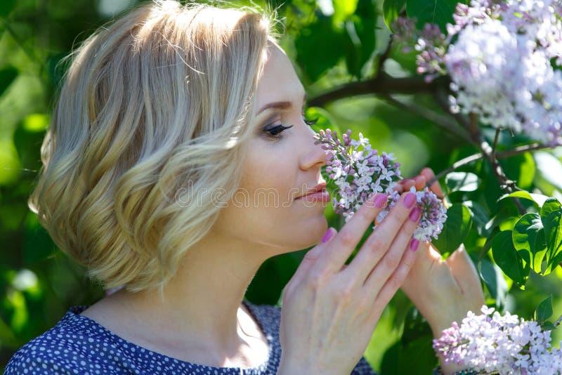 Mulher loura nova bonita que aspira o arbusto lilás fotos de stock