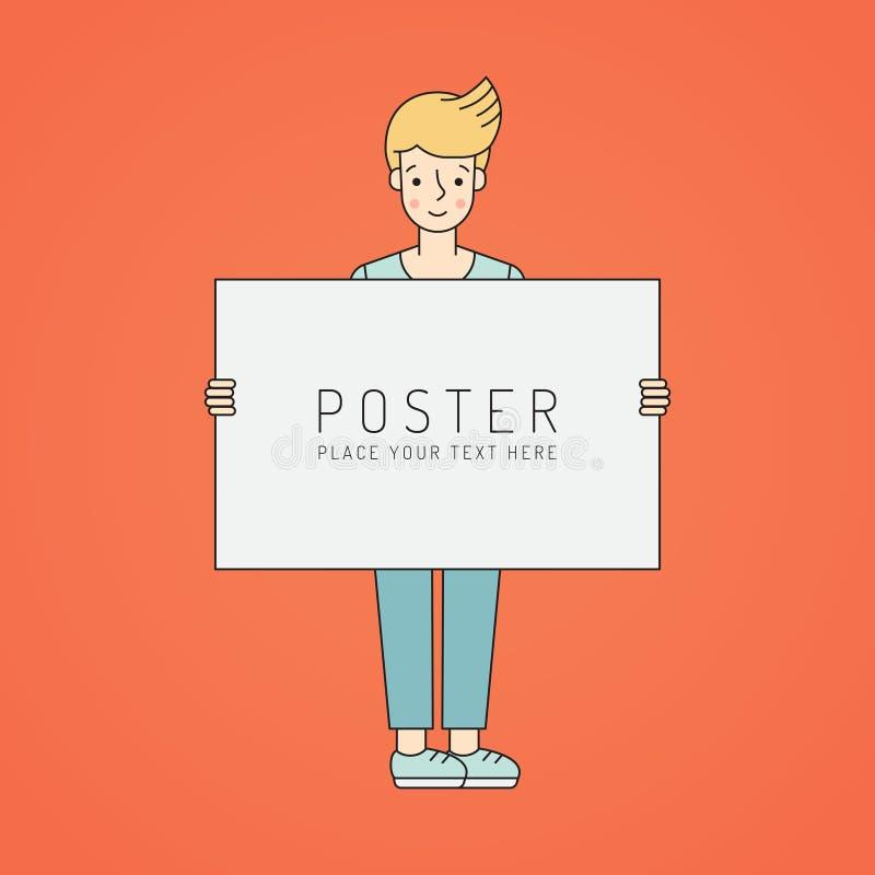 A mulher loura nova guarda o cartaz Projeto simples do esboço ilustração do vetor