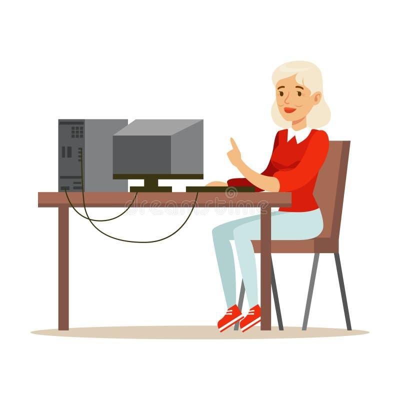 Mulher loura nova que usa o portátil ao sentar-se em sua mesa, ilustração colorida do vetor do caráter ilustração royalty free