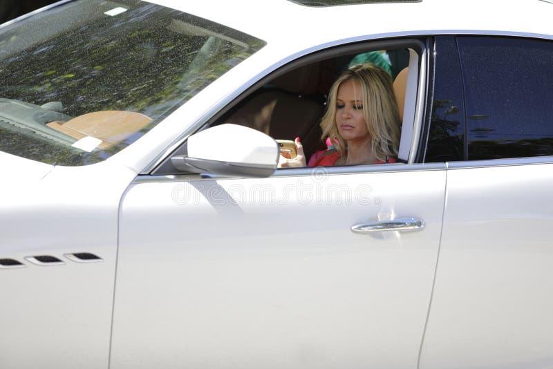 Mulher loura que texting em seu carro imagem de stock