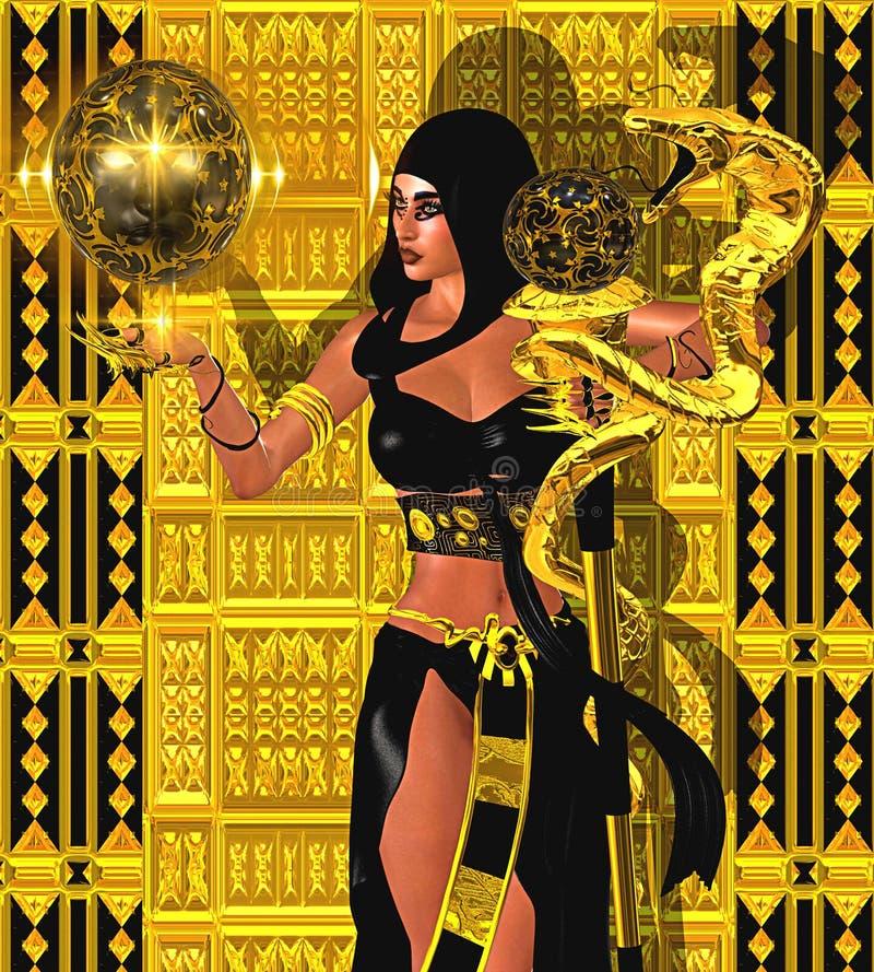 Mulher mágica com serpente do ouro e a esfera místico da luz Vestindo uma capa e um equipamento pretos ilustração stock