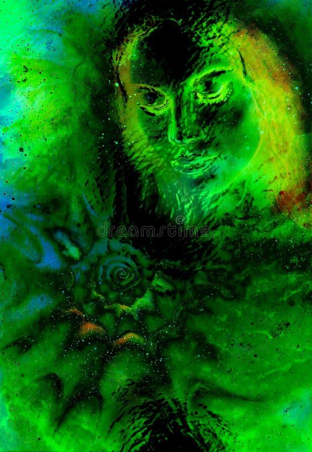Mulher místico e shell do mar no espaço cósmico Efeito de vidro ilustração stock