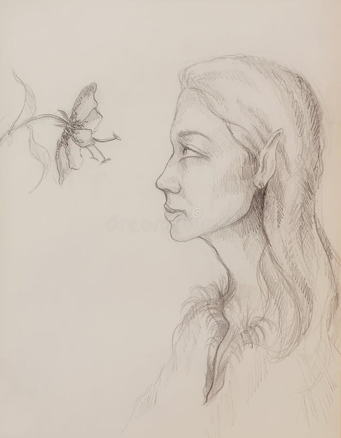 Mulher m?stico com flor Desenho de l?pis no papel ilustração stock