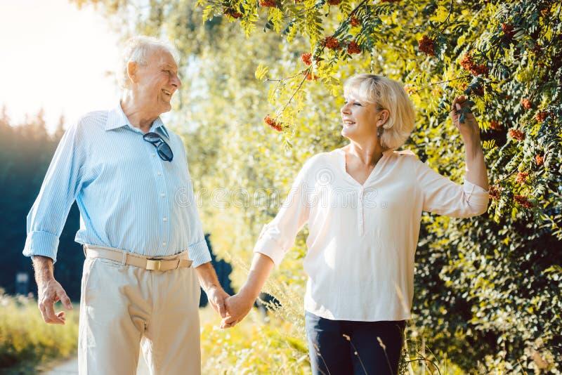 Mulher madura e homem que têm uma caminhada do verão imagens de stock
