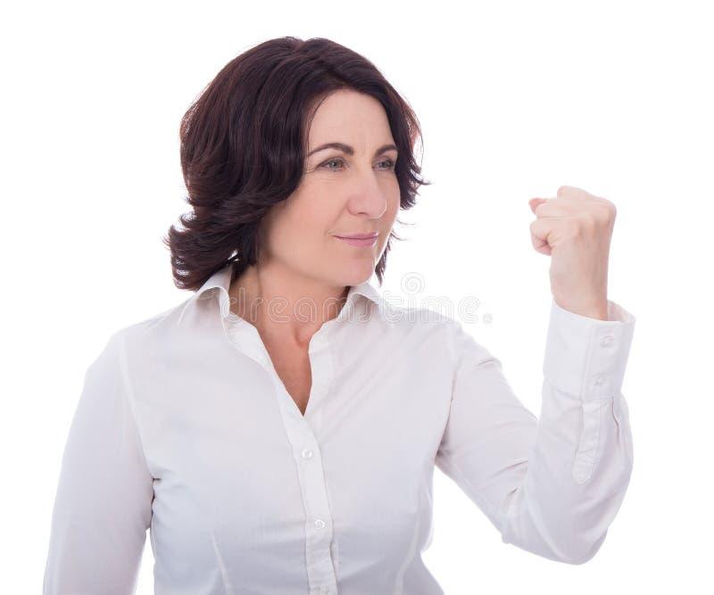 Mulher madura irritada isolada no branco imagens de stock