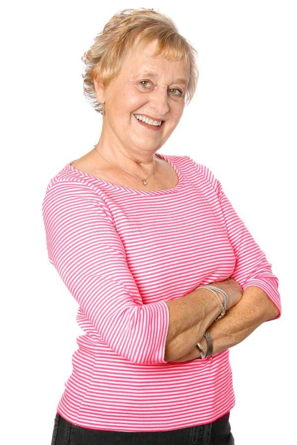 Mulher madura no vermelho ocasional imagens de stock royalty free