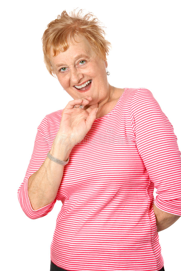 Mulher madura no vermelho stripy imagem de stock royalty free