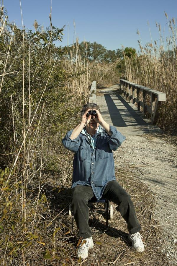 Mulher madura que Birdwatching ao ar livre fotos de stock