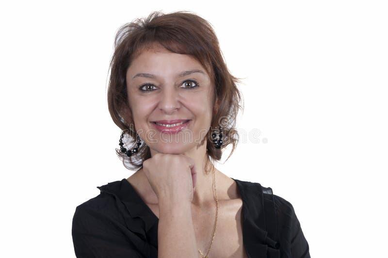 Mulher madura triguenha bonita 2 de sorriso foto de stock
