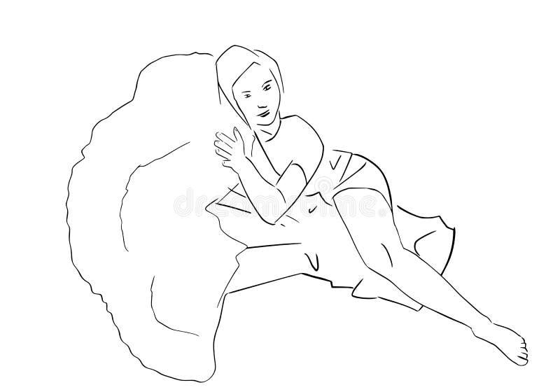 Mulher magro nova que encontra-se em brócolis ilustração do vetor