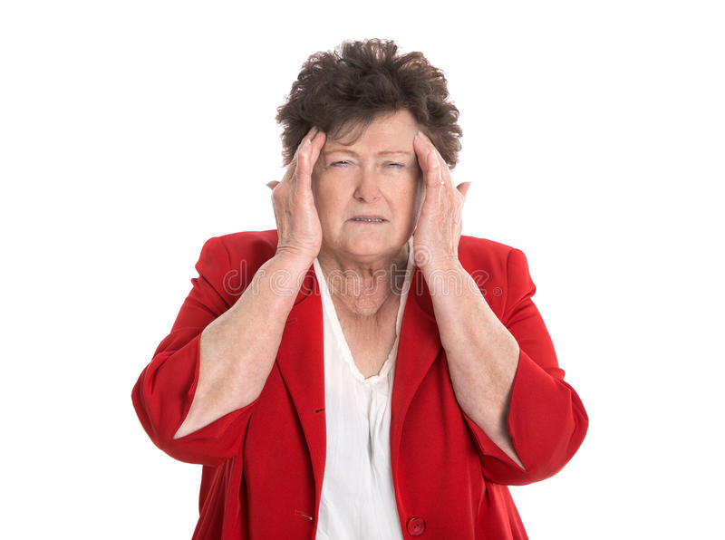 Mulher mais idosa isolada com dor de cabeça ou enxaqueca fotografia de stock royalty free