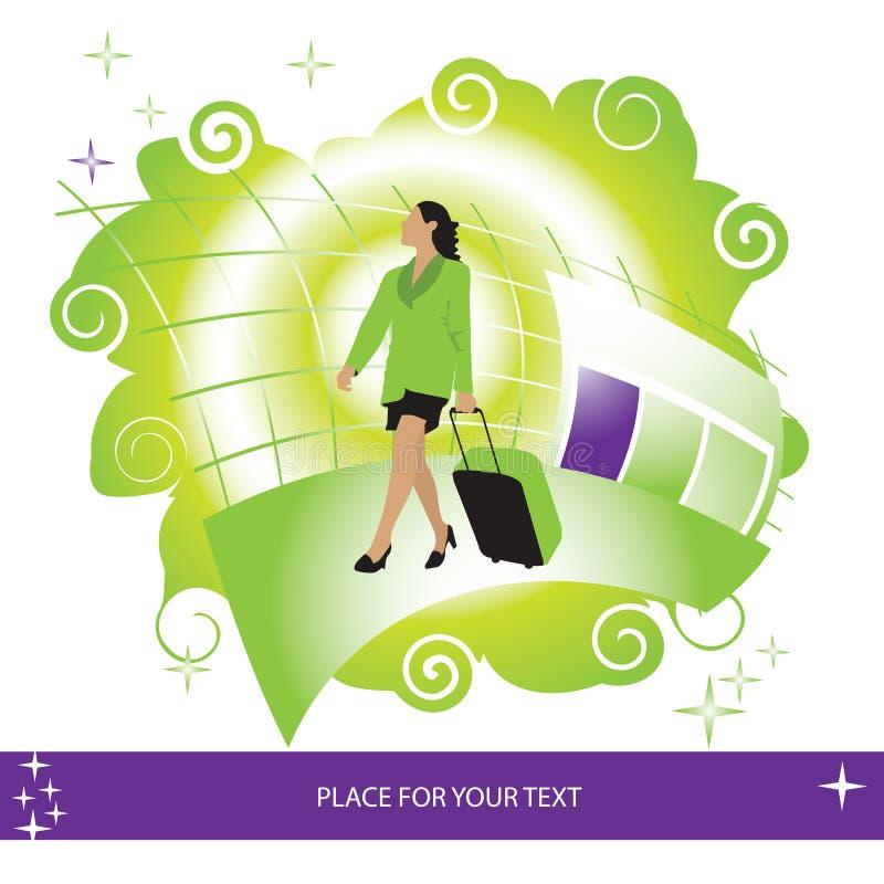 Mulher, mala de viagem, aeroporto ilustração royalty free